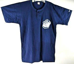 Vintage-90s-Wilson-Georgetown-Hoyas-Bulldog-Logo-Hombre-XL-Henley-Camiseta-Azul