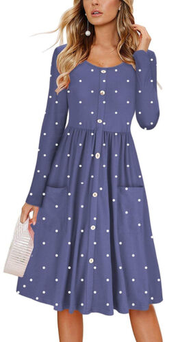 Womens Flared Polka Dot Ladies Pocket Long Sleeve Swing Party Buttons Midi Dress