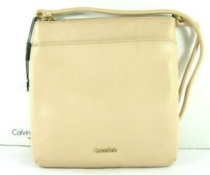 Calvin-Klein-138-NWT-Nude-Crossbody-Shoulder-Bag-Zip-Top-Pebbled-Leather-Small