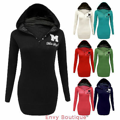 LADIES MISS SEXY WOMENS PLAIN HOODIE JUMPER TOP HOODED SWEATSHIRT SIZES 8-14