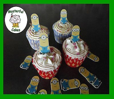 12 OR 24 PRE-CUT STAND UP MINION DESIGN EDIBLE RICE PAPER CUP CAKE TOPPERS