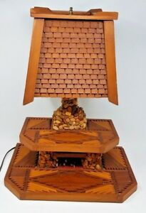 Vtg Folk Art Stone Rock Wood Fireplace Hearth Table Lamp Cabin