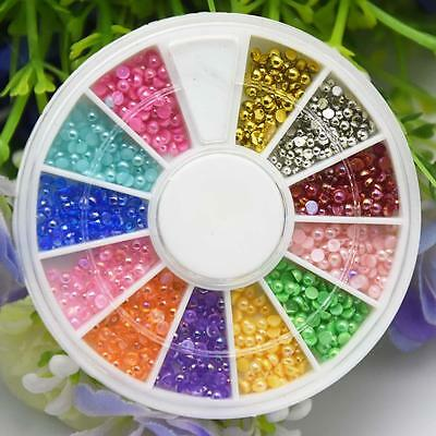 12 Stunning Colors Nail Art Mini Pearl Beads Decoration with Wheel NEW