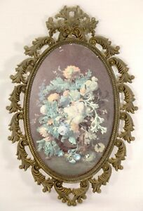 Antique-Italian-Ornate-Oval-Frame-with-Floral-Artwork-Metal-Frame