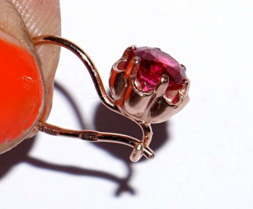 RUSSIAN 14k ROSE GOLD FILLED LAB RUBY CORUNDUM SILVER 925 EARRINGS USSR 2.3g