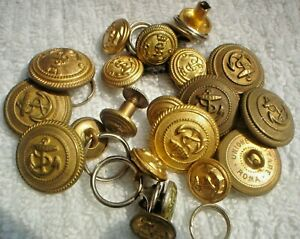 21-X-2-CM-amp-1-CM-SMALL-S-H-GOLD-AUSTRALIAN-MILITARY-BUTTONS-NAVY