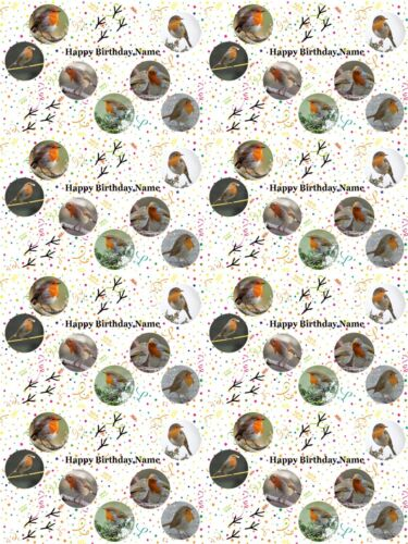 Robins Personalised Birthday Gift Wrapping Paper ADD NAME CHOOSE BACKGROUND