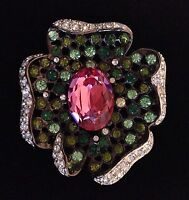 Kenneth Jay Lane Flower Pin Brooch, Pink Green
