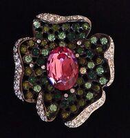 Kenneth Jay Lane Flower Pin Brooch, Pink Green