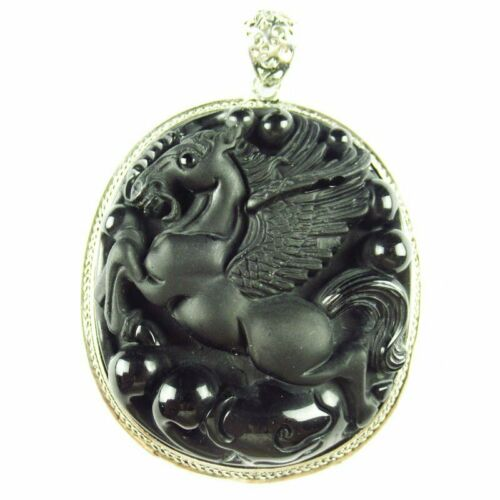 1Pcs 53.1g Wrapped Black Obsidian Horse Oval Pendant Bead 62x52x14mm BK670