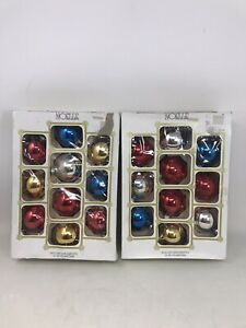 2-Boxes-Vintage-Noelle-Glass-Christmas-Tree-Ornaments-Balls-MULTICOLORED