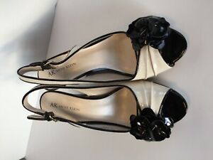Anne-Klein-Sling-Back-Open-Toe-Black-White-Patent-Leather-Pumps-US-Size-7