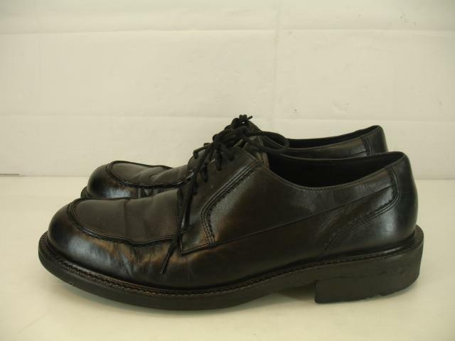 Uomo 13 13.5 47 Ecco City Seattle Moc-Toe Blk Leather Oxford Shoes Lace-Up Dress