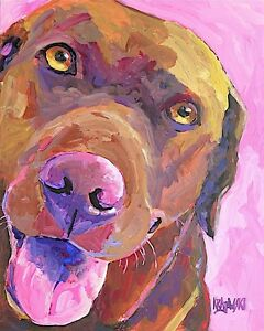 Labrador Retriever 11x14 signed art PRINT RJK painting Chocolate Lab