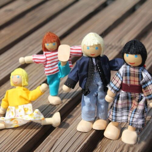 Parent-child Joint Dolls Wooden Doll Toys A Family Of 4 People Infant Baby