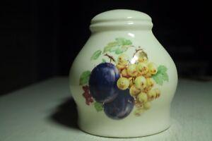Vtg-Ceramica-Blanco-Crema-Servilleta-Soporte-Fruta-Pera-Plum-Cereza-Uvas-Morado