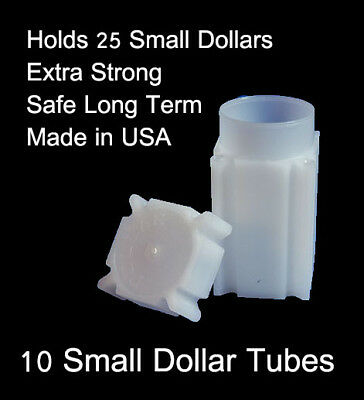 COINSAFE SMALL DOLLAR SQUARE TUBE COIN CLEAR PLASTIC STORAGE HOLDERS 25