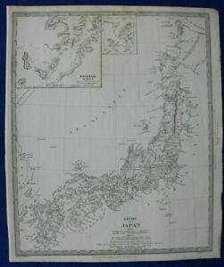 JAPAN-NAGASAKI-HARBOUR-YESO-HOKKAIDO-original-antique-map-SDUK-1844