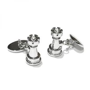 Chain Style Castle Chess Piece Cufflinks Presented in Box X2AJ348