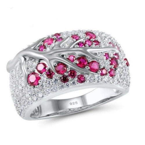 Creative Leaves Shaped Silver Party Rings For Women Round Ruby Ring Size 6-10