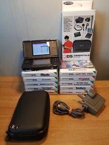 Nintendo DS Lite Black Mega Bundle 10 Games Case Charger & many extras