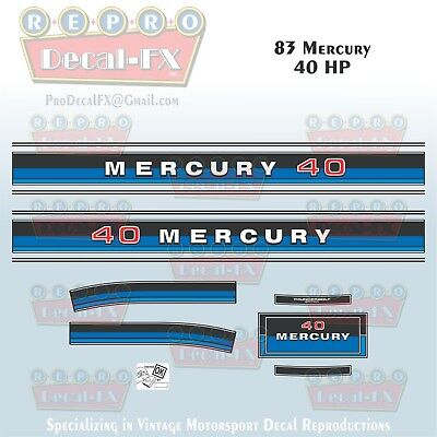 1983 Mercury 25 HP Outboard Reproduction 6 Piece Marine Vinyl Decal