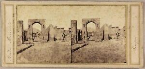 Italia-Pompei-Foto-Stereo-P8L1n2-Vintage-Albumina-Ca-1858
