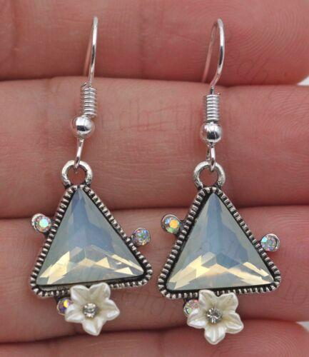 """1.6/"""" Retro Triangle Opal Fleur de Cristal Dame Boucles d/'oreilles SW 925 Plaqué Argent Crochet"""