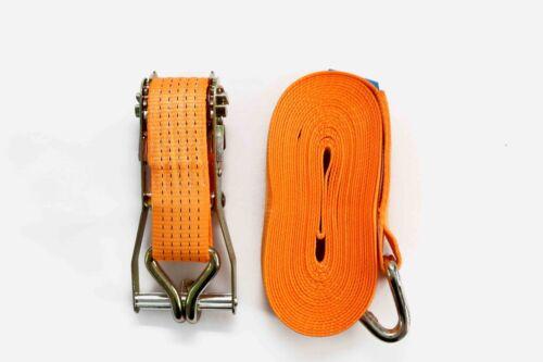 4x Ratchet Strap Tie Down 5T 6m x50mm Iron Handle Double J hook 5000kg Webbing