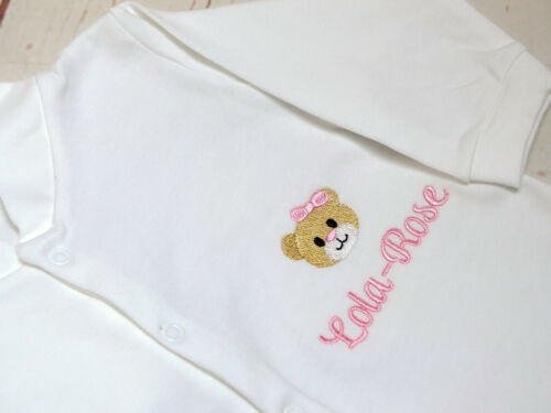 Personalised Baby Girl Sleepsuit Babygrow Embroidered Sleepsuit New Baby Gift