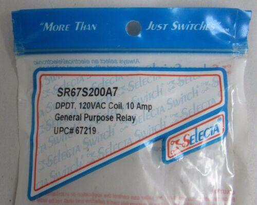 SELECTA SR67S200A7 120VAC COIL 10A GENERAL PURPOSE RELAY