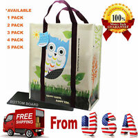 5 X Super Heavy Duty Ecojeannie Laminated Woven Reusable Shopping Bags/ Recycled