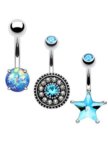 BodyJ4You 3PC Belly Button Rings 14G Created-Opal Crystal Navel Bar Jewelry Set