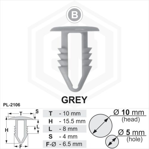 10 x Gris Plastique Sapin TRIM CLIPS 5 mm trou 10 mm tête de voiture van Push en bouton