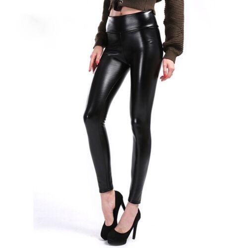 Women/'s Autumn  Fleece High Waist PU Leather Pants Black Leggings Female Shinny
