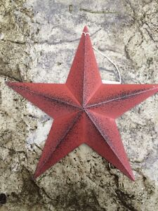 ONE-1-BURGUNDY-BLACK-BARN-STAR-8-034-PRIMITIVE-RUSTIC-COUNTRY-DISTRESSED