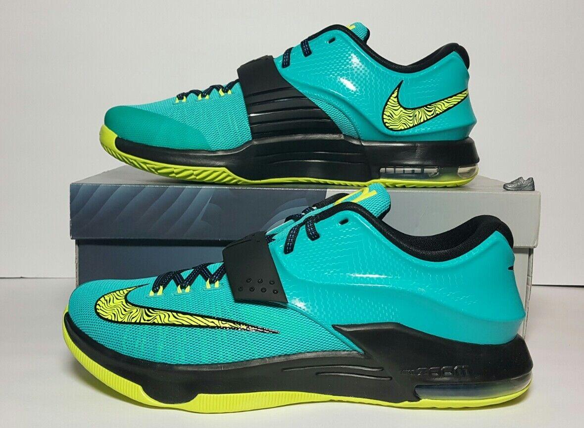 Nike uomini kd vii rivolta nuova / scatola da 10 & 11 jade volt blu nero 653996 370