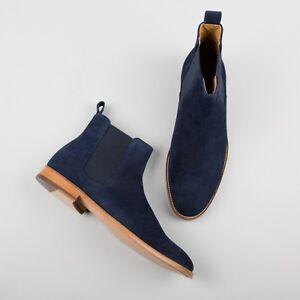 Handmade men navy blue boots, suede