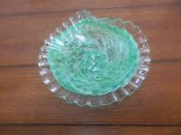 Glass Candy Dish Green Tones, Scalloped Edges