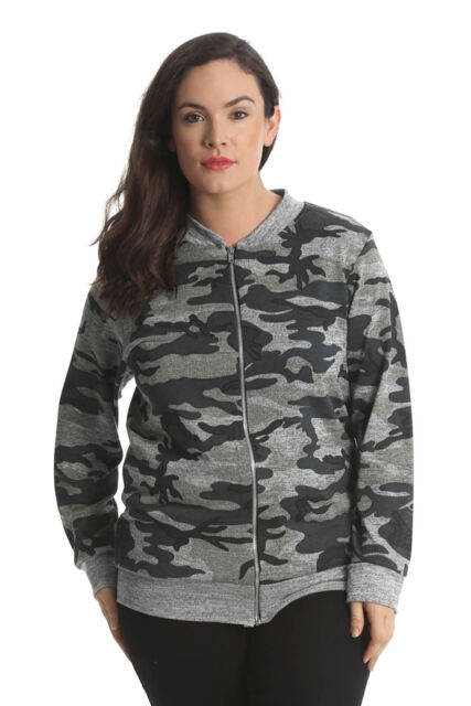 7d6ef8c1d Ladies Bomber Jacket Plus Size Womens Camouflage Army Print Ribbed Nouvelle  Grey 14