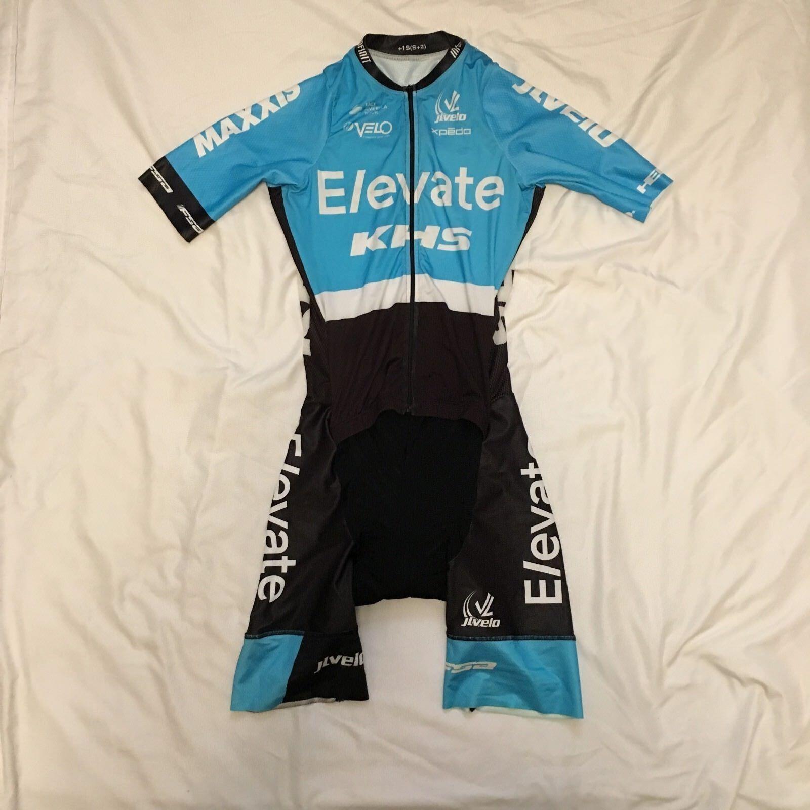Men's 2017 JL Velo KHS Elevate Pro Ciclismo traje para ciclismo de manga corta, azul claro, XS Usado En Excelente Condición