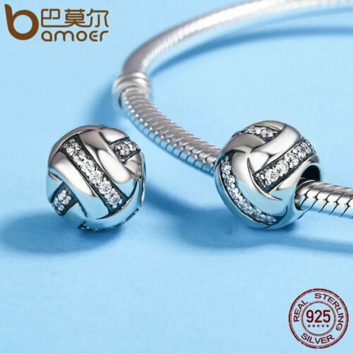 BAMOER Christmas Retro 925 Sterling Silber Charm Volleyball Mit CZ Fit Armband