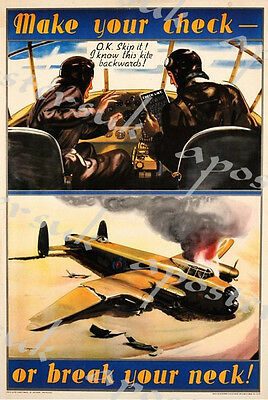Vintage World War 2 RAF Bomber Command Poster A3 Reprint