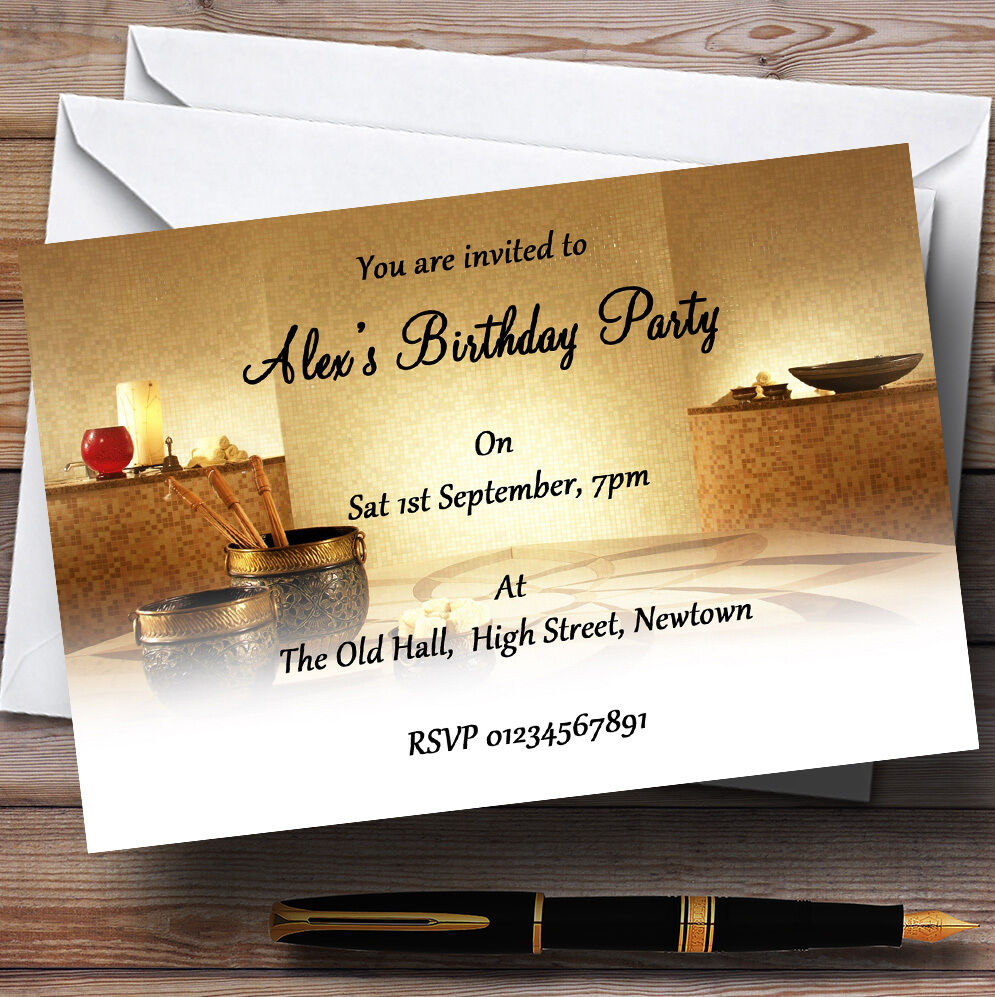 Relaxing Weekend Spa Day Theme Personalised Birthday Party Invitations - Th80