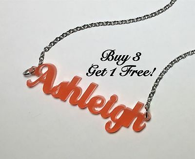 Name Necklace Acrylic Personalized Buy 3 get 1 FREE FREE Shipping  22 Colors