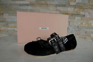Détails sur Miu Miu 38 Ballerines Chaussons Chaussures Basses Velours Noir Neuf Autrefois