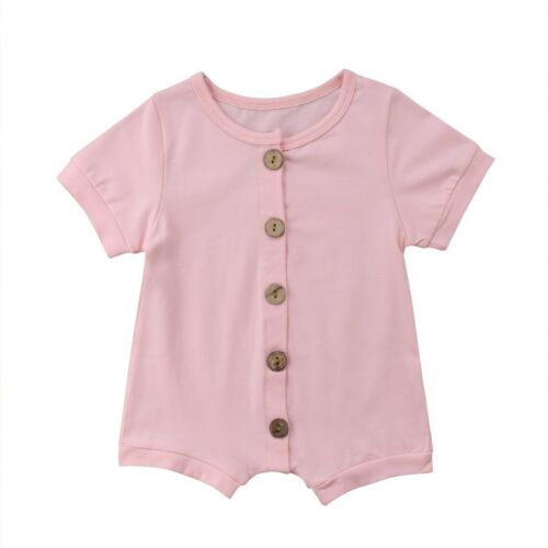 Solid Color Cotton Newborn Toddler Kids Rompers Summer Playsuit Casual Clothing