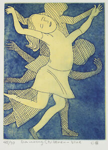 Charles-BLACKMAN-039-Dancing-Children-Blue-039-Etching-on-paper-signed-by-artist