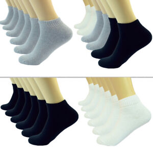 Plain-Solid-Ankle-Quarter-Low-Cut-Crew-Men-Cotton-Cushioned-Sports-Socks-9-13