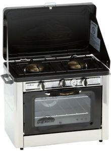 Double Burner Steel Propane Gas Range Outdoor Pizza Oven w/ Removable Oven Racks